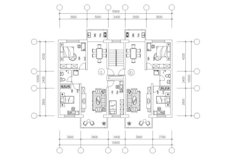 32套高层一梯两户户型平面图(CAD)_4