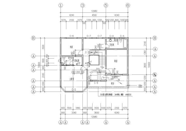 二层阁楼内庭小户型别墅建筑施工图_6