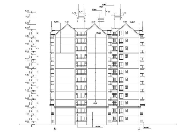 小高层一梯四户住宅楼建筑施工图及大样图_2