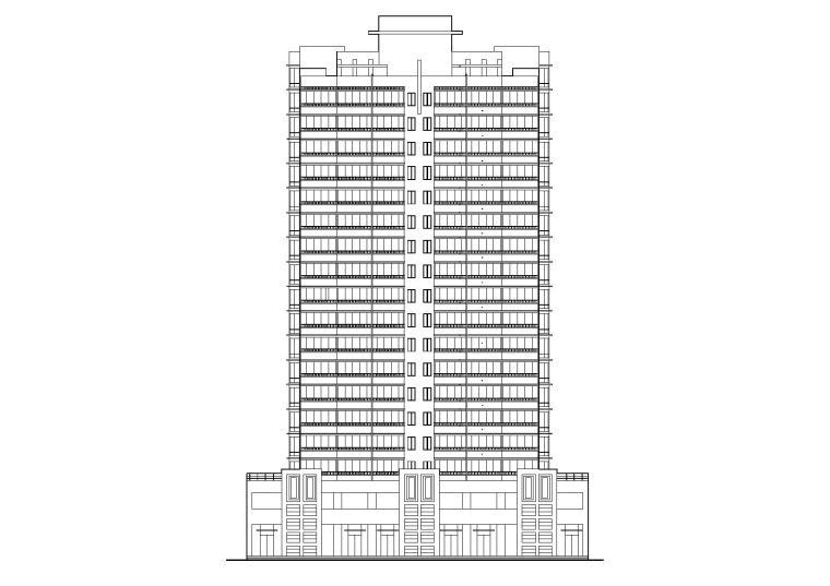 一梯四户小户型公寓平面资料下载-高层一梯四户塔式底商公寓楼建筑施工图