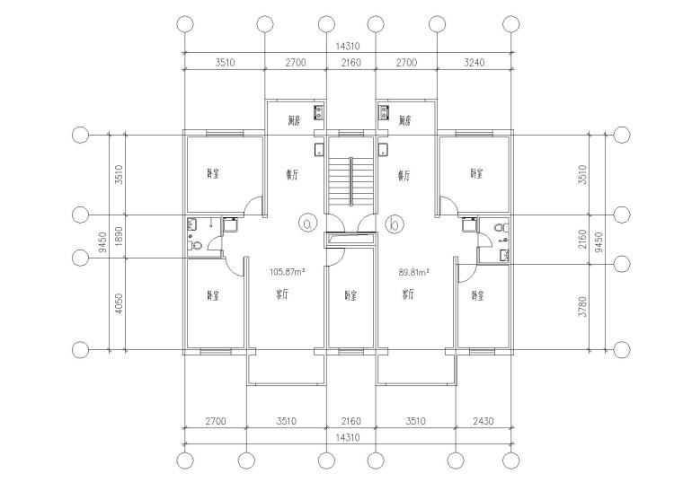 32套高层一梯两户户型平面图(CAD)_5