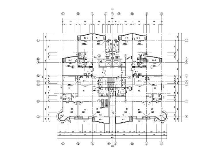 高层一梯四户塔式底商公寓楼建筑施工图_6