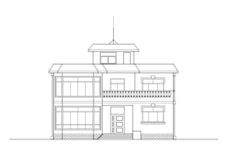 二层阁楼内庭小户型别墅建筑施工图