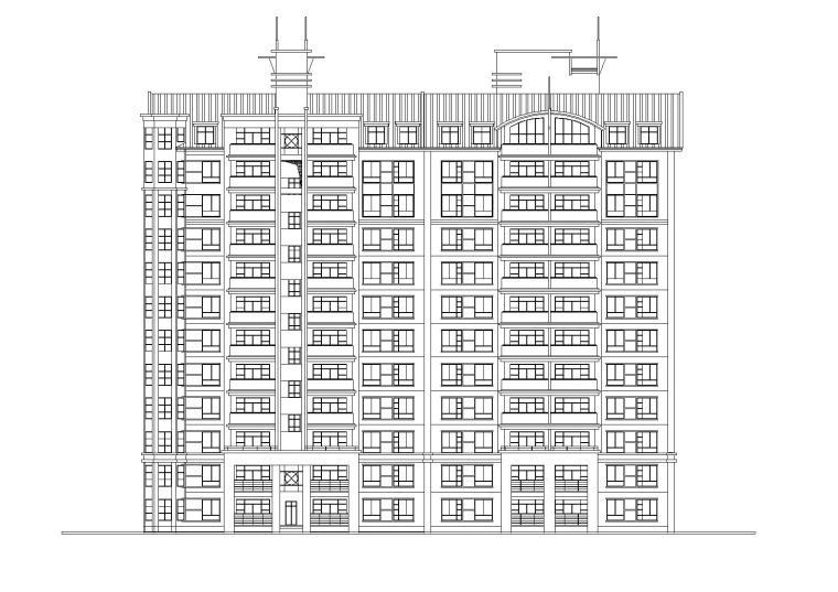 小高层一梯四户住宅楼建筑施工图及大样图