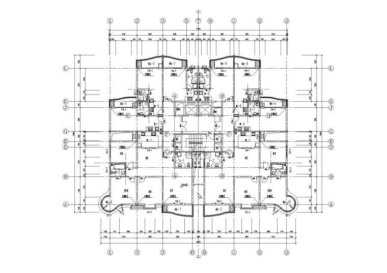 高层一梯四户塔式底商公寓楼建筑施工图_7