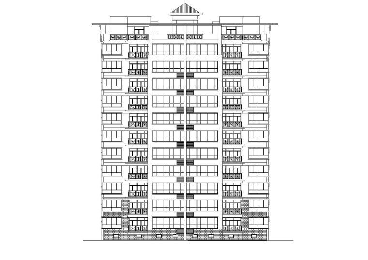 中式高层一梯两户住宅楼建筑施工图