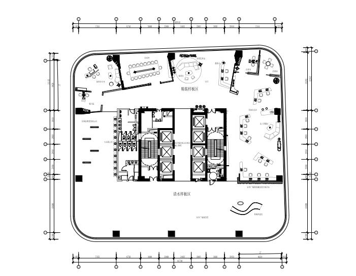 LGA國內甲級寫字樓樣板房裝修施工圖+設計方案效果圖