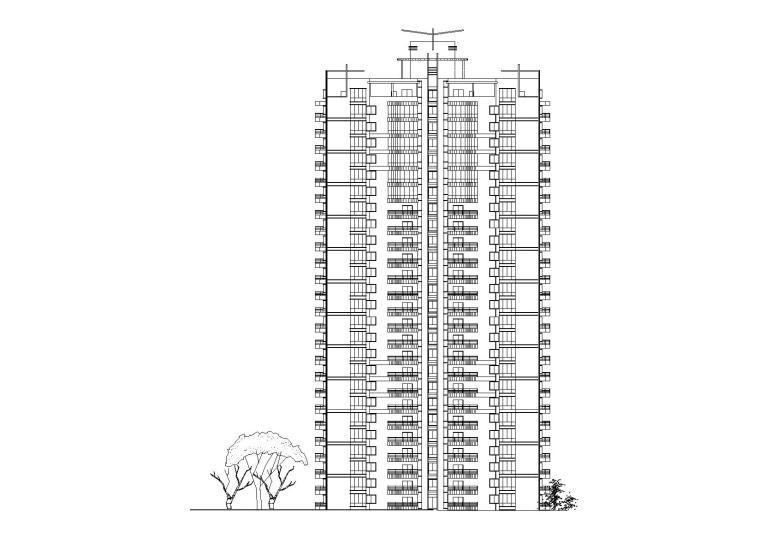 二十六层塔式住宅楼建筑设计方案图