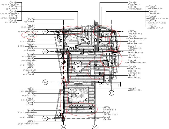 [海南]海南三亚山海天公寓二期5套样板房深化施工图+效果图+物料表-4D户型家具布置平面图