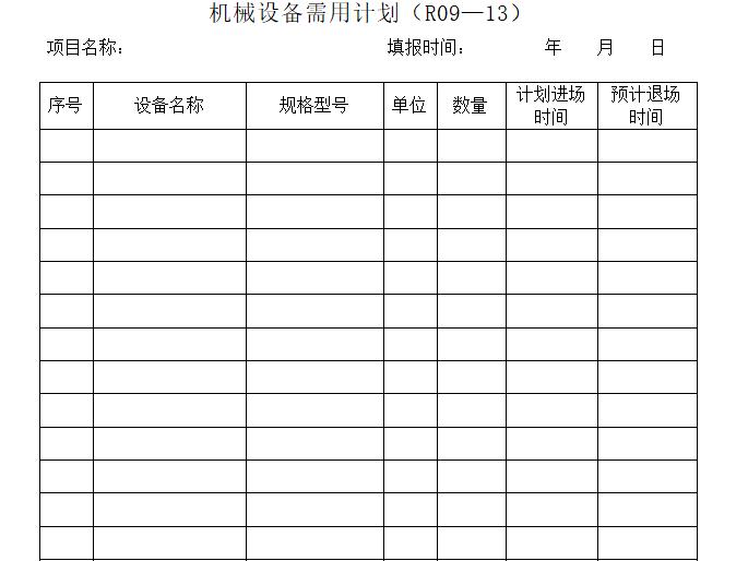 机械设备记录台账(含9套表格)