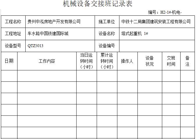 机械设备交接班记录表(表格完整)