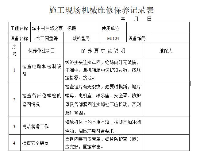 施工现场机械维修保养记录表(内容全面)
