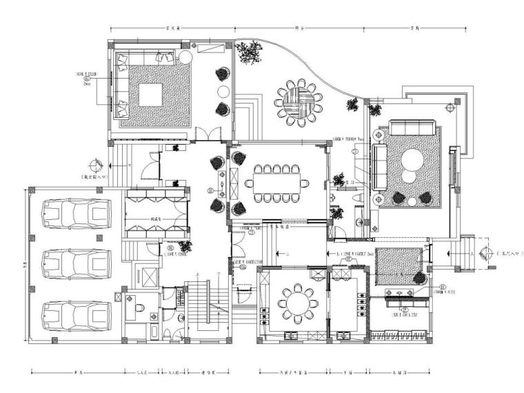 阳光花园现代风格别墅样板房施工图+实景图