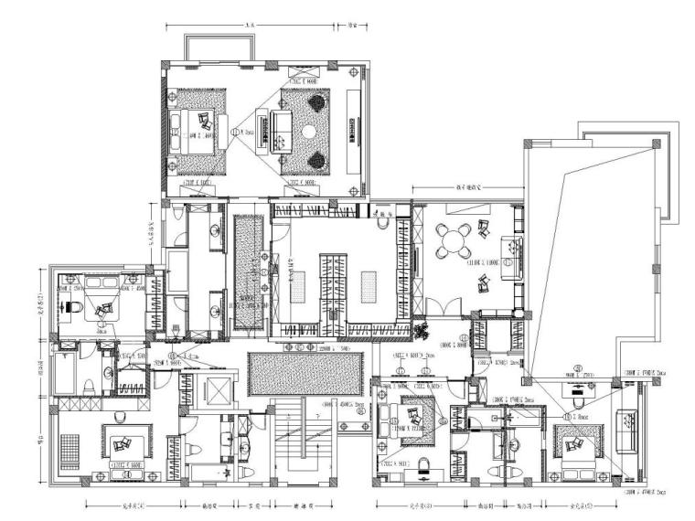 阳光花园现代风格别墅样板房施工图+实景图_2