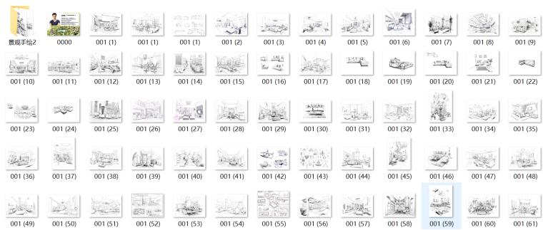 高清扫描室内、景观线稿手绘效果图1