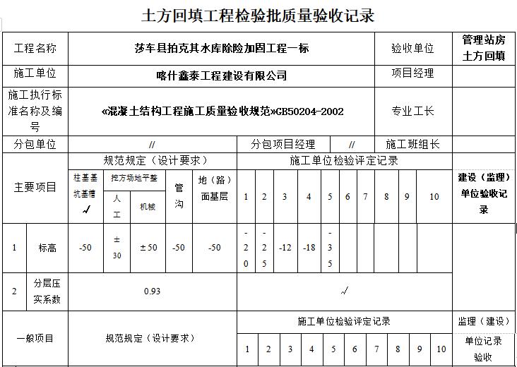 土方回填工程检验批质量验收记录(完整版)
