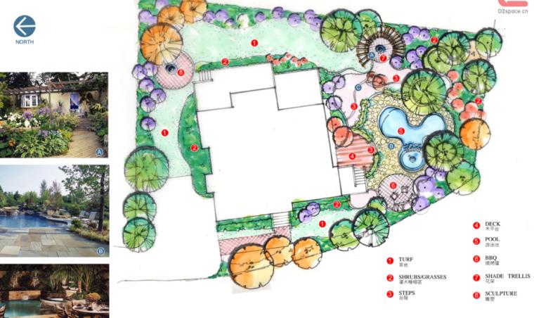 中房森林别墅庭院景观设计3套方案[方案三]