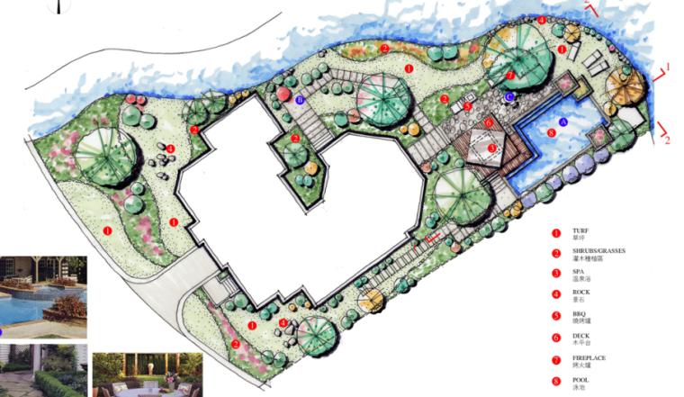 中房森林别墅庭院景观设计3套方案[方案一]