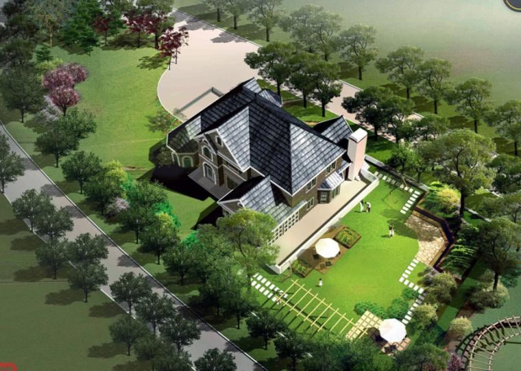 [北京]蓝堡别墅庭院景观绿化景观设计方案
