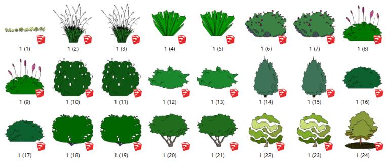 75套2D景观植物-彩色简笔