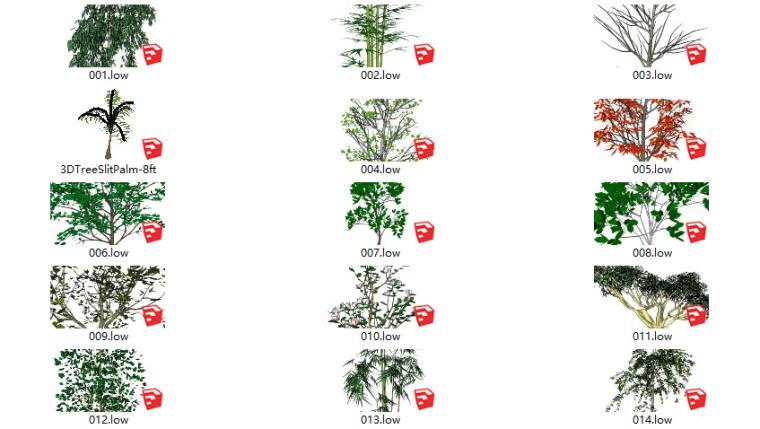 155套3D景观花草植物su模型-简易乔木