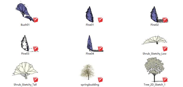 41套2D景观植物-灰白简笔