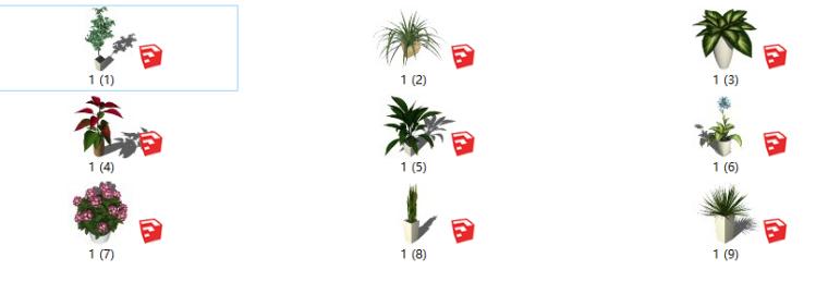 盆栽景观植物su模型(1-10)