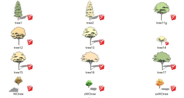 26套2D景观植物su模型-透明风格