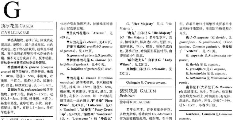 世界园林植物与花卉百科全书-植物词典-G