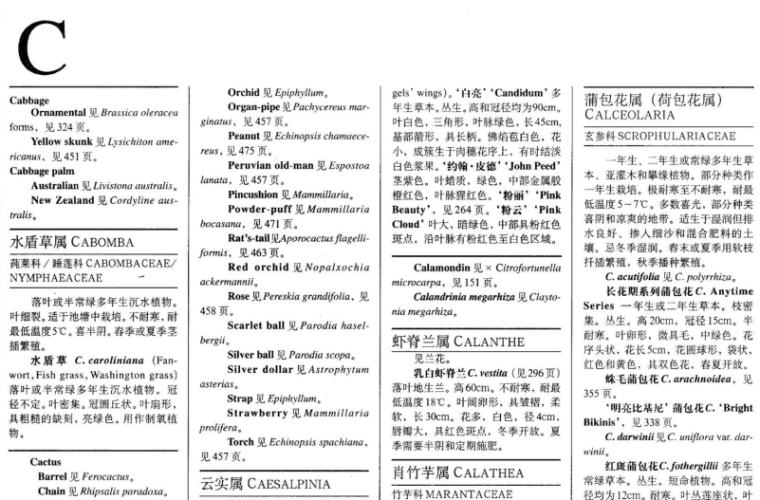 世界园林植物与花卉百科全书-植物词典-C