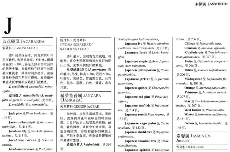 世界园林植物与花卉百科全书-植物词典-J