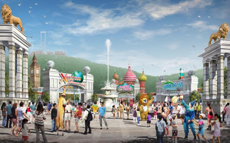 儿童游乐园cad图纸资料下载-[江苏]彭城欢乐世界游乐园主题乐园规划方案