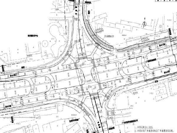 [广州]双向六车道道路改造工程设计图纸