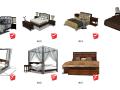 7个中式家具床su模型
