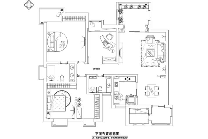 两居室东南亚风格住宅装修施工图+效果图