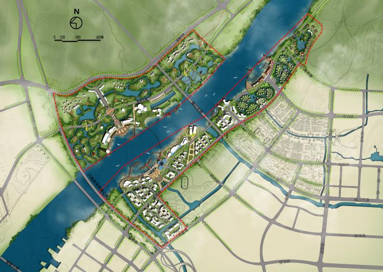 景观ps素材|滨水规划psd分层