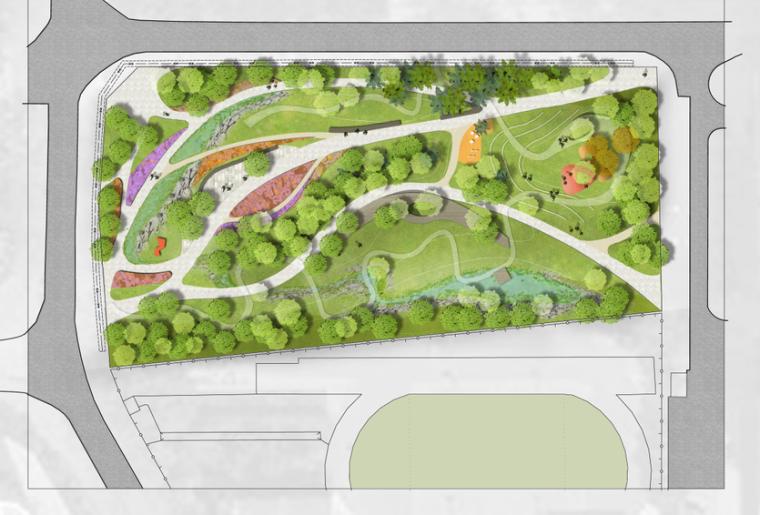 PS素材|城市市民广场景观彩平面图PSD素材
