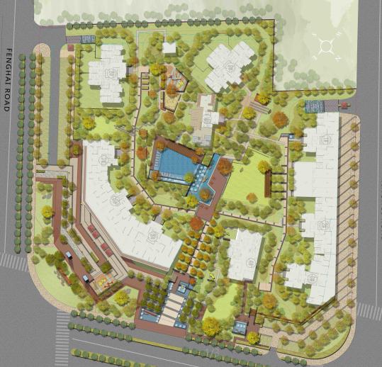 景观PS素材|居住区彩平面图PSD