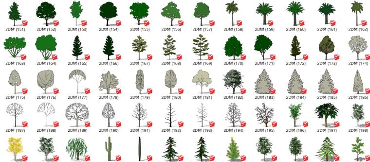 335套景观2D植物su模型(151-335)