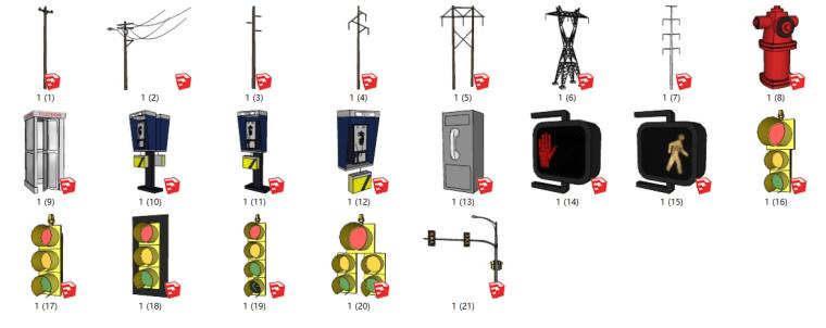 交通灯电话电线杆su模型