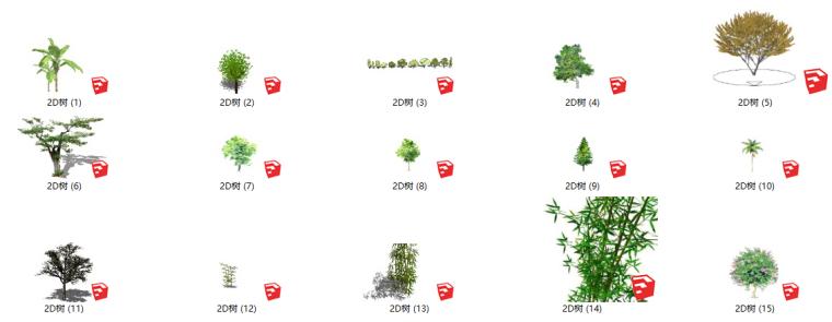 335套景观2D植物su模型(1-150)