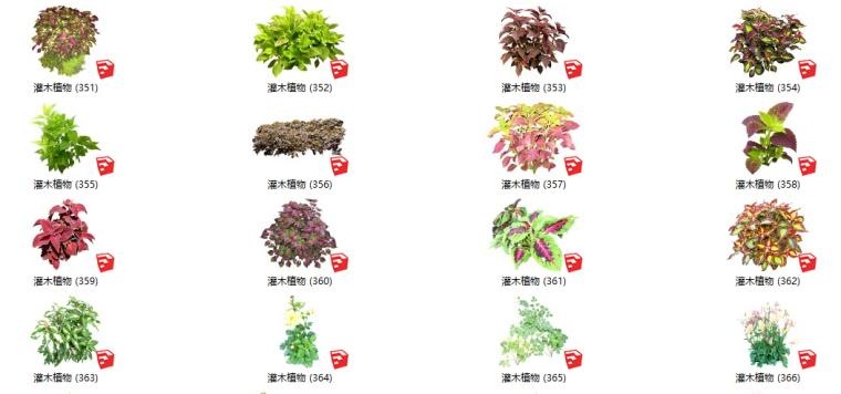 450套花卉灌木植物组件全集A(351-400)