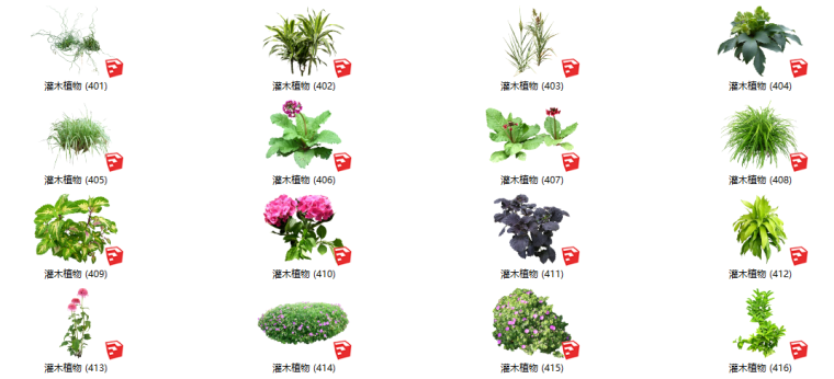 450个花卉灌木植物组件全集A(401-450)