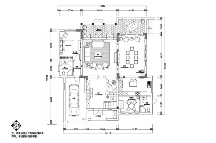 万科上林苑350平美式风格住宅装修施工图