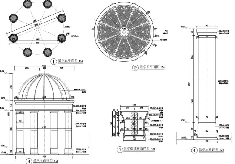 A档八柱穹顶亭-石材干挂