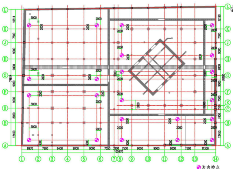 65地下室施工平面内控网布置图