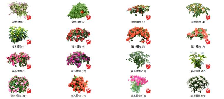 500套花卉灌木植物组件全集C(1-50)