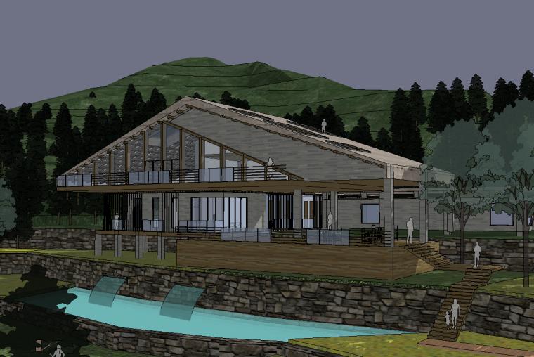 現代山地坡屋頂度假木屋旅館農家住宿建筑su