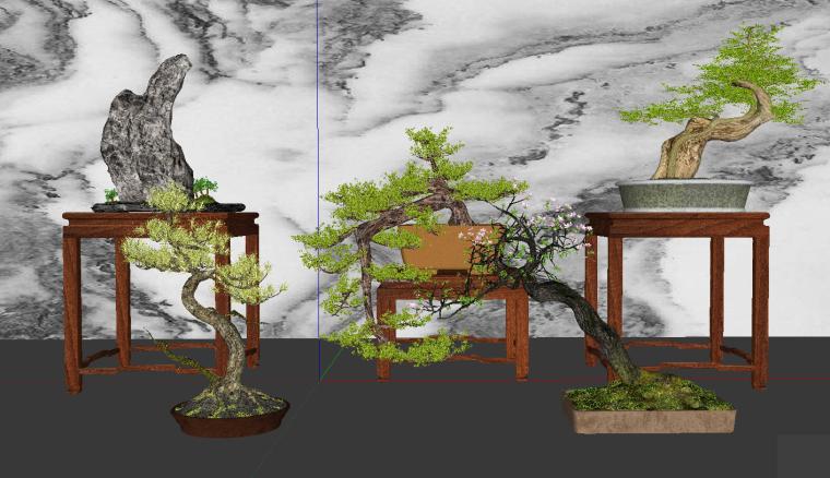 中式松树盆景组合绿植盆栽罗汉松su模型12套