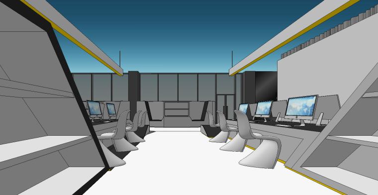 现代办公空间概念SU模型设计
